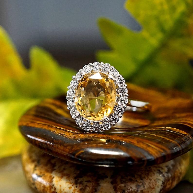 Gift for her-US Size 6.75 Rhodium plated Sterling Silver Ring November Birthstone for Valentine/'s Genuine Citrine gemstone
