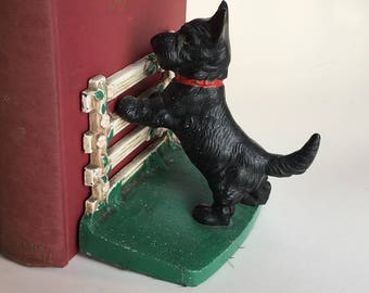 Vintage Hubley Cast Iron Scottie on Fence Bookends, c.1930. numbered 430 Scotty Dogs