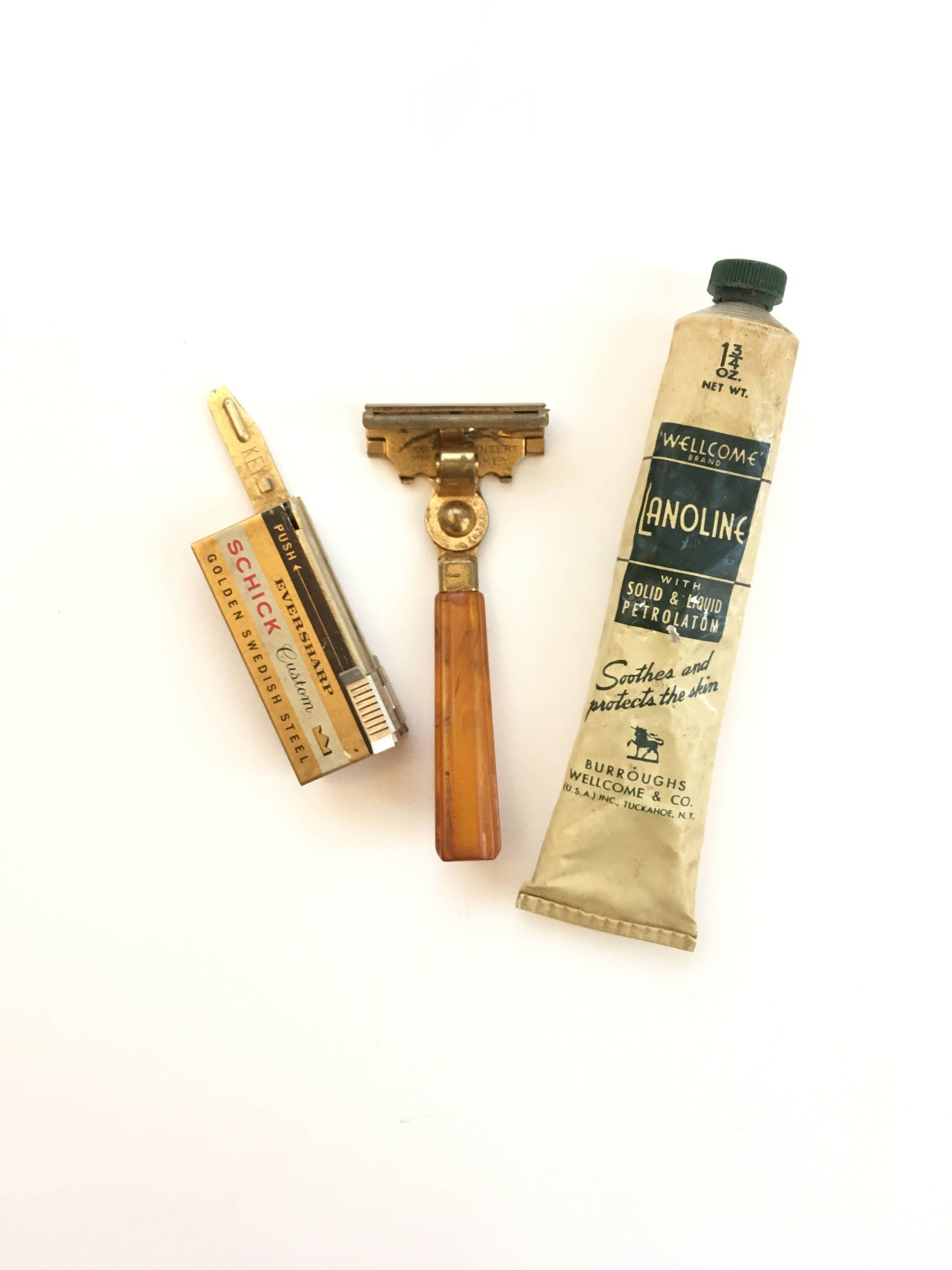 Vintage Schick Injector Razor Butterscotch Swirl Bakelite Handle set with  blades and Vintage Lanoline Ointment 1950s