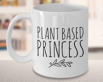 Plant Based Princess Vegan Chick Coffee Mug Ceramic Tea Cup - Vegan Gifts - Vegan Mug