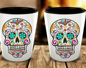 Day of the Dead Shot Glasses - Sugar Skull Shot Glass - Mexican Folk Art - Dia De Los Muertos - Cute Shot Glasses