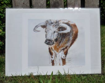 Thank You Card With Mouse And Texas Longhorn Steer Graphic 5 x 7 Inches BellavanceInk