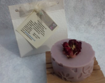 Petals Essential Oil Blend and Little Red Roses Handmade Soap Bar. Olive and Hempseed Oil. Vegan, Palm Oil and SL Free. Boxed.