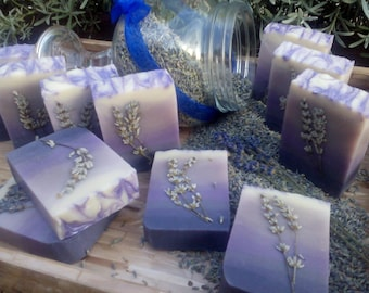 Goats Milk Soap Bar with  Lavender Essential Oil and Dried Lavender From My Garden.  Cold Process Soap, Palm and SL Free.