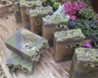 Goats Milk Soap Bar, Spring Garden Fragrance. Very Moisturising.  Palm and SL Free. Decorated With  Flowers Grown in My Garden.