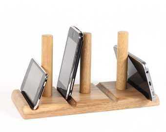 Dock or stand for Phones and Tablets // Any device inc iPad and iPhone // Oak wood // Also a letter stand and organiser // Leanii multi