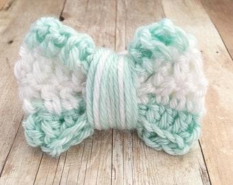 Aqua and white bow, Ready to ship, Hair tie, Crochet
