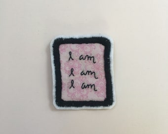 I Am I Am I Am Sylvia Plath Pink Literary Patch