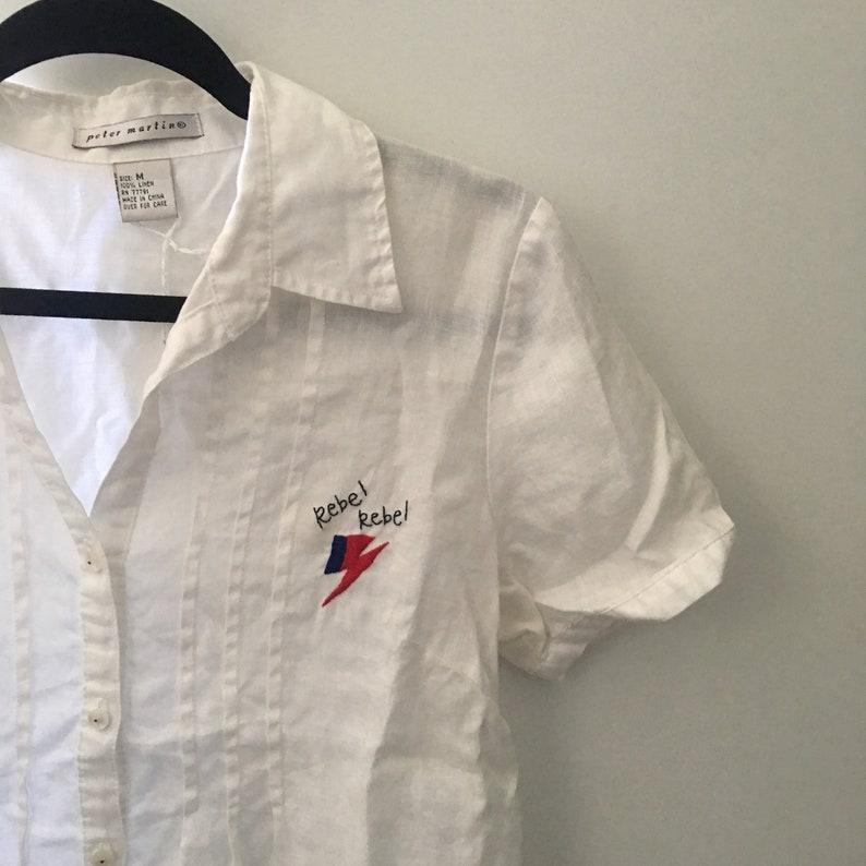 Rebel Rebel Button Up Short Sleeve Shirt **David Bowie Inspired**