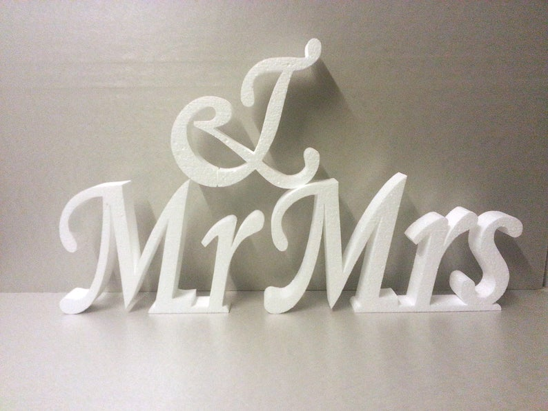 Uppercase letters Large wedding letters Mr & Mrs letters 3D letters Large  block letters Wedding signs Reception letters White nonpainted