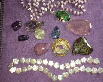 7 oz stone bead destash, MOP,optic, amethyst and more