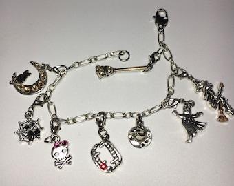 Halloween themed stitch marker/charm bracelet