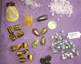 Optical illusion stones lot! Nearly 6 ounces of gem beads, optic, tiger eye, optic stone and more