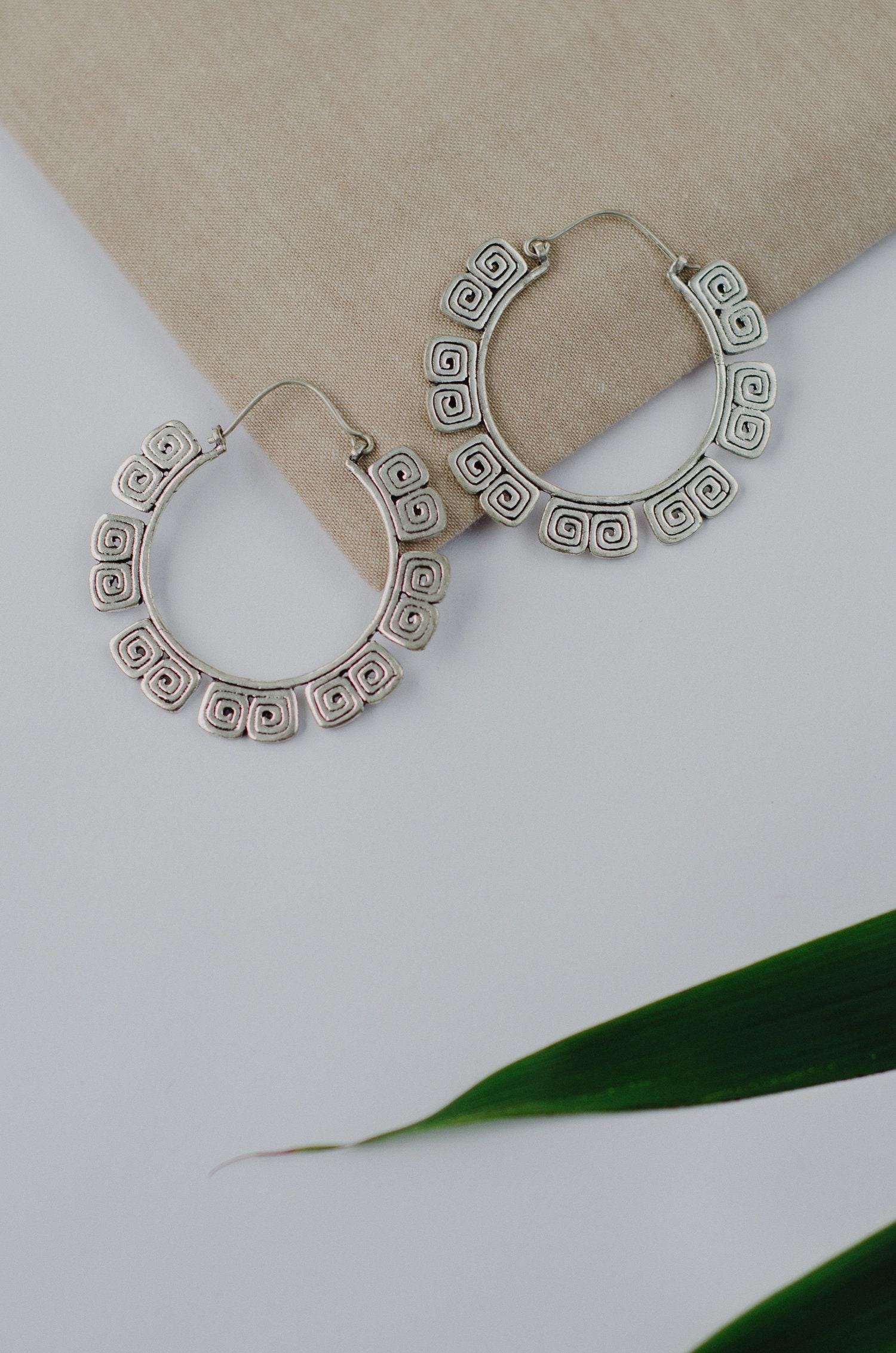 Earrings Tribal Ethnic alternative body jewellery Brass Mayan Eye Hoops