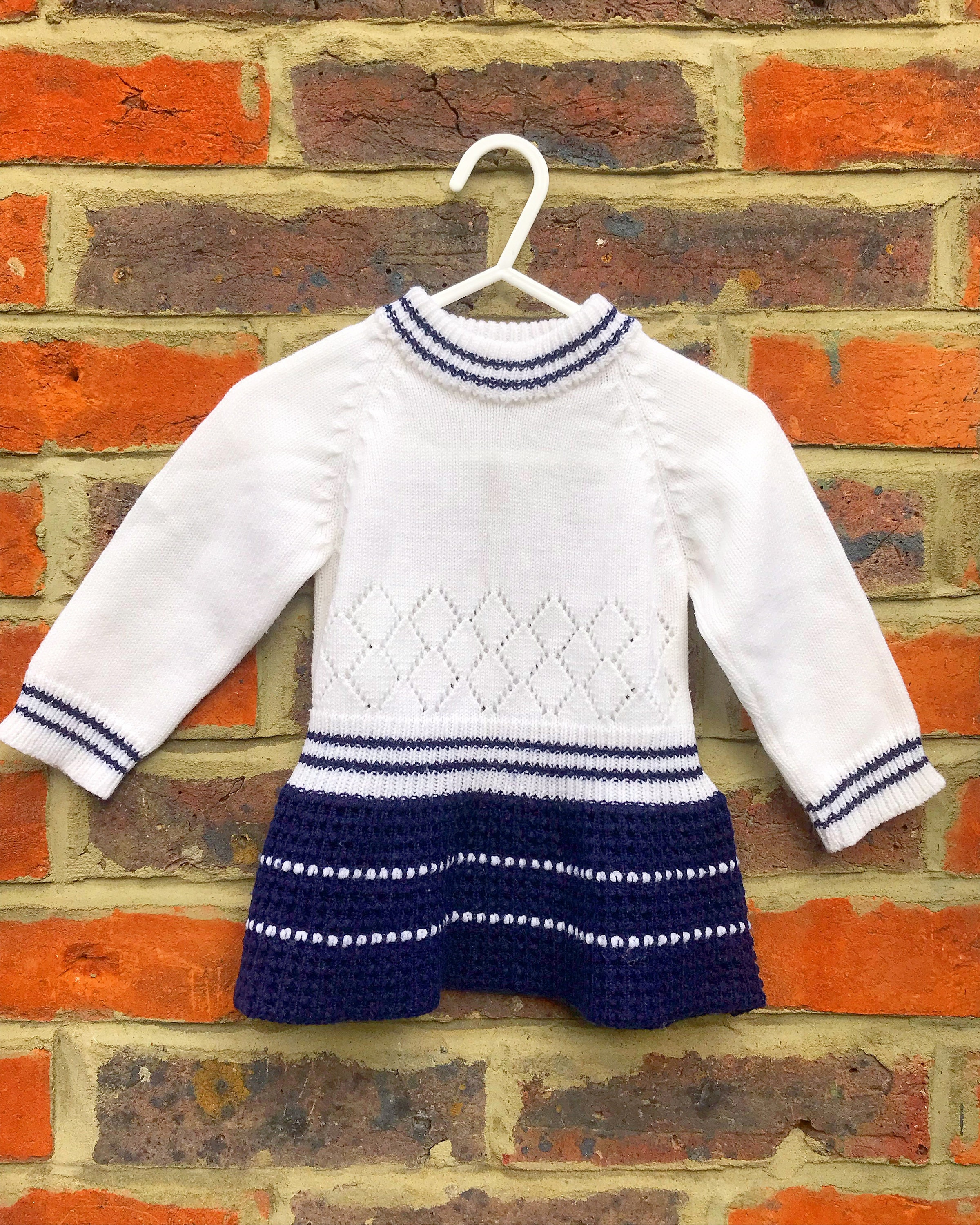 2c8ab2329 The Vintage Baby Jumper Dress In Blue And White