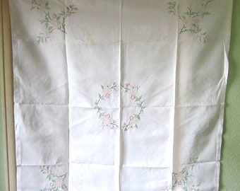 Vintage Hand Made/Embroidered Pink Flowers Table Cloth Collectable/Textile/1960s