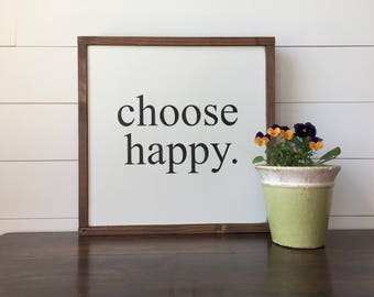 "CHOOSE HAPPY  | Wall Decor, Framed Wood Sign, 18""x18"""