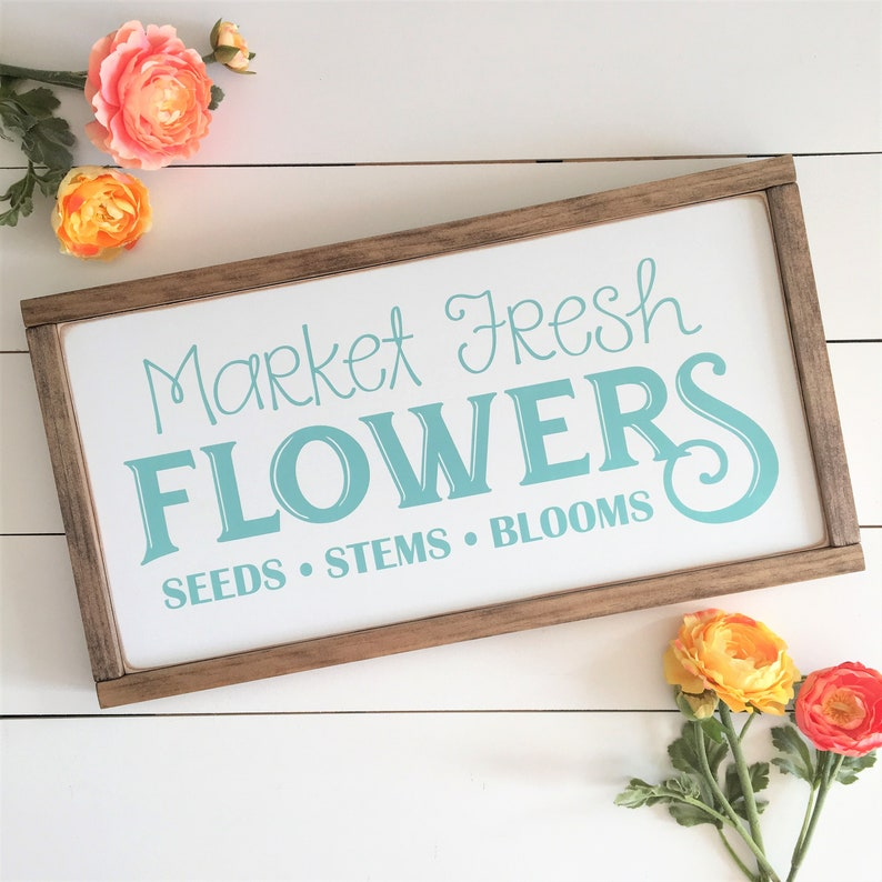 Fresh Flower Market Sign Farmhouse Cottage Style Framed Painted Wood Sign Decor 12x22 Magnolia Inspired Free Shipping