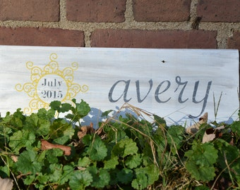 Baby name, you are my sunshine Wall Sign- Handmade