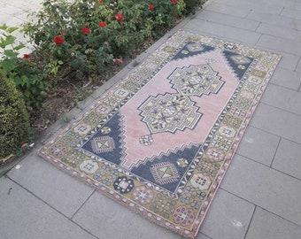 4x7 vintage rug,turkish rug,oushak rug,pink rug,area rug,boho rug,kitchen rug,floor rug anatolain rug,hand made bohemian rug,3.9x7 feet,
