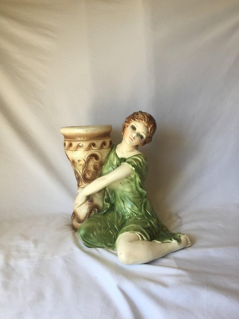 Large Chalkware Planter   Girl with Urn   Vintage