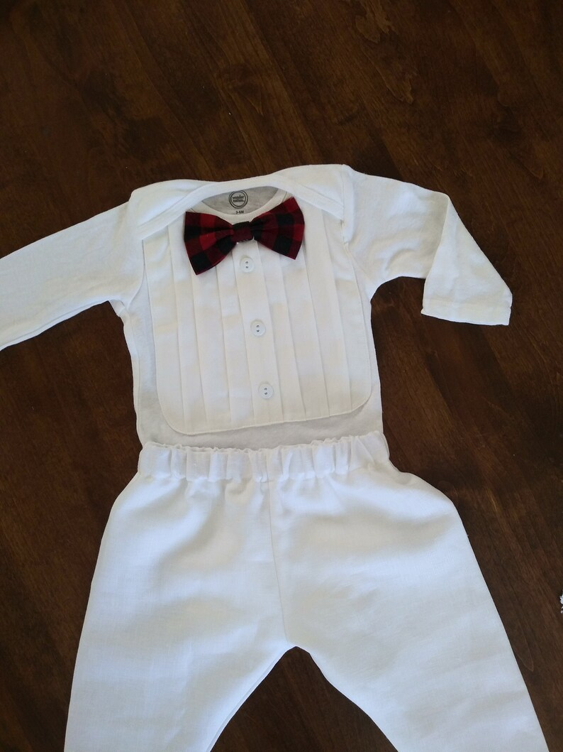 white tux Baby boy blessing outfit boy christening outfit buffalo plaid bow tie baptism suit baby boy christening white baby boy suit