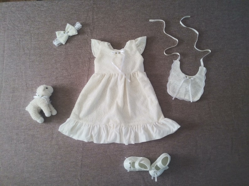 74a75795f1aa1 5 piece vintage style off white Baby blessing dress set, white baby dress,  baptism gown, christening gown, baptism dress set, LDS sealing