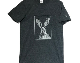 Legend of the Jackalope T-Shirt - Heather Grey with White print