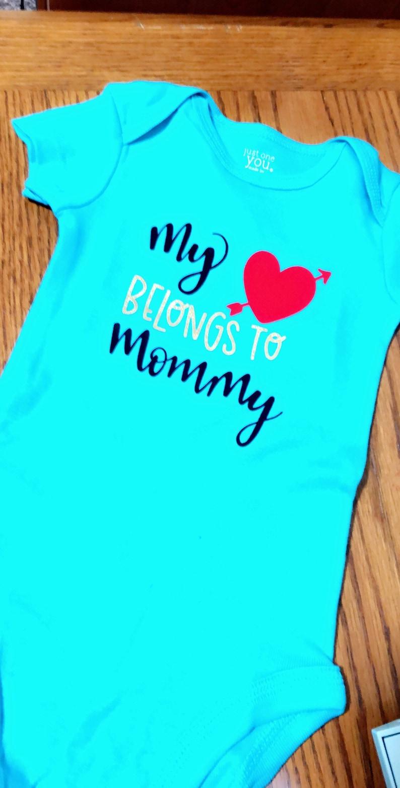 aaab739f My heart belongs to mommy baby toddler bodysuit onesie | Etsy