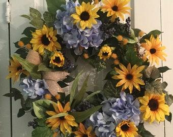 RUSTIC ROMANCE/ Hydrangea & Sunflower Wreath