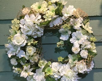 FARMHOUSE WHITE Floral WEDDING Wreath