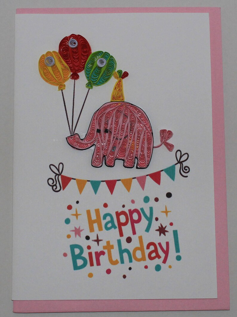 Happy Birthday Wishes Handmade Quilled Cards Cake Birds Cats Elephant Cupcake Teddy Bear Clown
