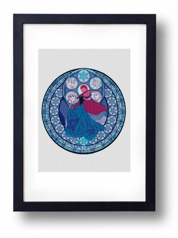 Anna Stained Glass Frozen Disney Elsa Olaf Kristoff Sven Etsy