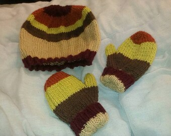 Toddler hat and mitten set - Striped
