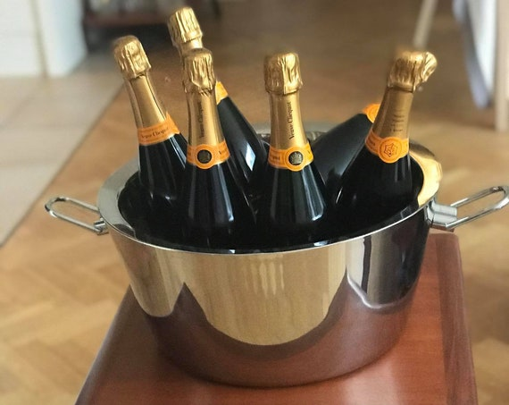 Champagne Ice bucket extra large magnum 6 bottles Perrier-Jouet Large Double Magnum Oval Ice Cooler chilling bar decor gift garden party