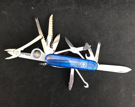 Swiss Army Knife Victorinox  Champ Blue 33 tools officer gift for him father day gift scissors magnifying glass bottle opener best man gift