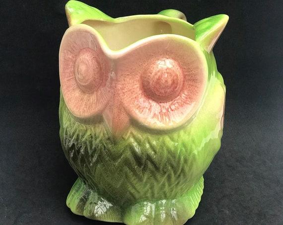 Owl Pitcher Jug Ceramic Barbotine Vintage French 1970s Sarreguemines Jug Ceramic Barbotine gift animal lover owl gift pink green vase