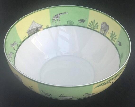 Hermes Africa Green Large Salad Bowl Vert Hermes Pasta bowl  Giraffe Signed Wedding gift  table
