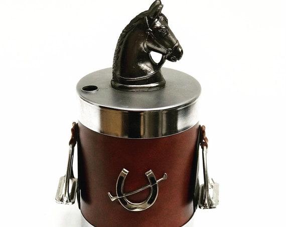 Cigarette dispenser vintage cigarette box metal horse head horse rider vegan leather Gift desk accessories gift man gift for him