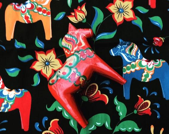 Dala Horse wooden Figurine Swedish Nils Olsson 17 cm Original Sticker With Fabric Scandinavian Hand Painted Scandinavian design red  Wood