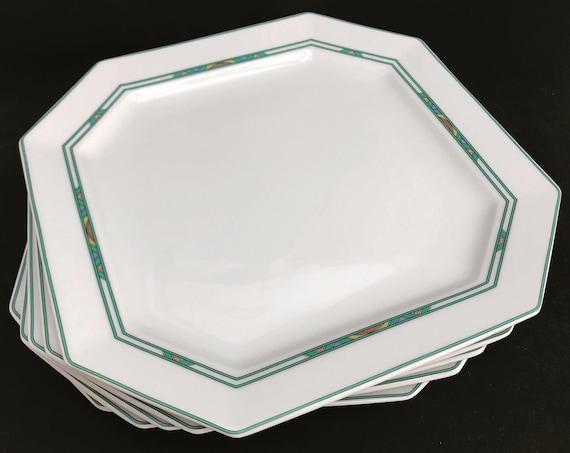 Porcelain Bernardaud Limoges Luncheon plates Set 5 square Paul Poiret Années 30s discontinued replacement white turquoise Art Deco