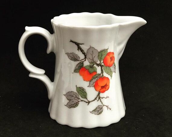 Creamer porcelain Milk jar Wunsiedel Bavaria 70s wedding gift, Mid Century, glossy porcelain decor white orange orange gift for mom