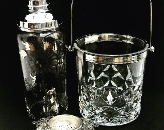 Bar set cocktail shaker Ice bucket  Strainer Vintage 60s mixology tools gift for him bar cart styling Mixology gift