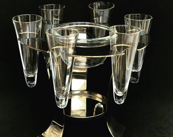 Caviar server with 6 vodka shots made in metal and glass Vintage 80s France