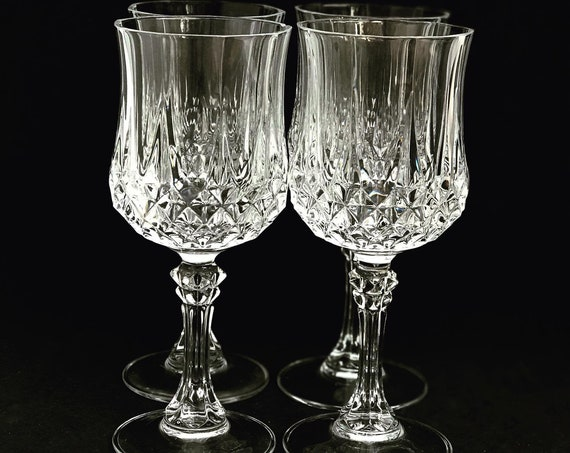 Vintage wine glasses with Diamond Cut Pattern Heavy Crystal gift for him bar cart decor wedding gift French crystal Mid Century gift mom