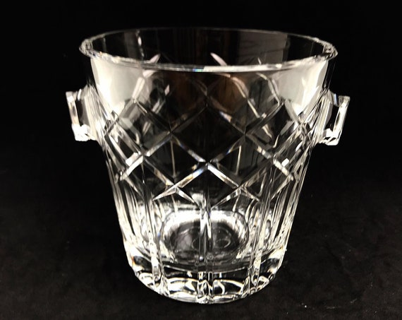 Ice Bucket Vintage Val Saint Lambert signed Heavy Cut crystal  Bucket 50s. Carved, bar accessories mid century modern bar cocktails gift him