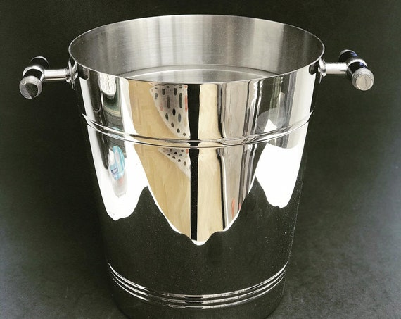Champagne Bucket Jean Couzon France stainless steel heavy excellent quality wine cooler ice bucket bar cart wedding gift
