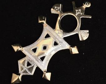 Ethnic Touareg Cross Amulet Talisman Silver Tribal Jewelry African Berber Nomadic  art Authentic Handmade decor  Tuareg  collector