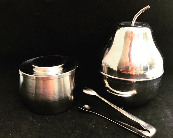 Alessi Sugar Bowl with lid Pear shaped jam bowl Mid Century Stainless steel breakfast set sugar clamp gift for hostess Officina Alessi