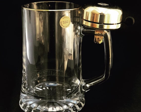 Beer Stein Mug Vintage german beer stein glass golden with bell ring for beer gift idea boss father day man cave decor collectible  for him